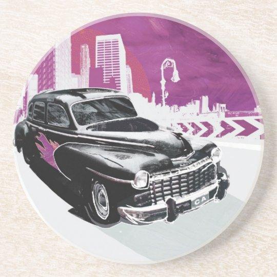 Automóvel do vintage porta copos de arenito