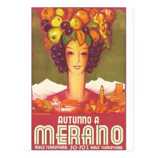 Autumno um poster das viagens vintage de Merano Cartão Postal