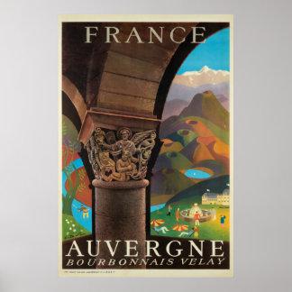 Auvergne, France, poster de viagens