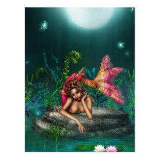 Ava a sereia cor-de-rosa cartão postal