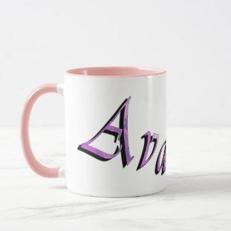 Ava, logotipo conhecido, caneca de café combinado
