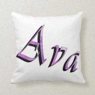 Ava, nome das meninas, logotipo, coxim branco do almofada