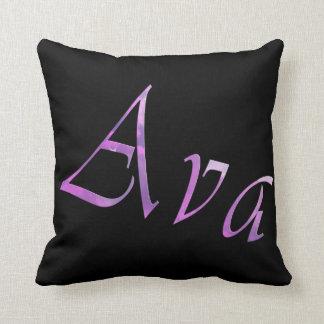 Ava, nome das meninas, logotipo, coxim preto do almofada
