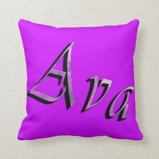 Ava, nome, logotipo, coxim magenta do lance almofada