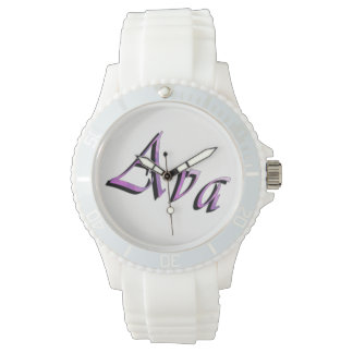Ava, nome, logotipo, relógio branco dos esportes