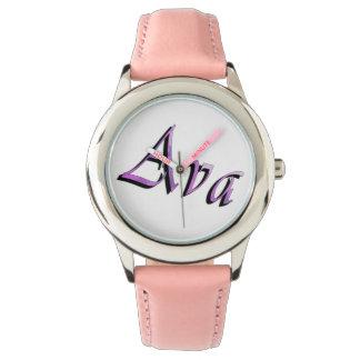 Ava, nome, logotipo, relógio de couro cor-de-rosa