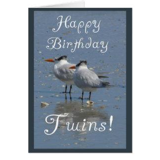 Ave marinho Gêmeo-Idênticas do feliz aniversario Cartão Comemorativo