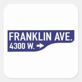 Avenida de Franklin, Los Angeles, sinal de rua de Adesivo Quadrado
