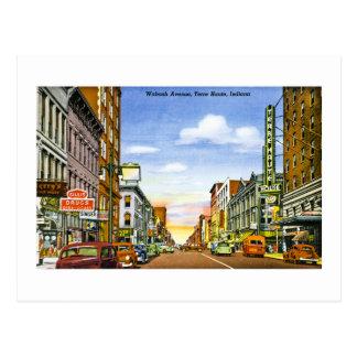 Avenida de Wabash., Terre Haute, Indiana Cartão Postal