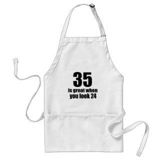 Avental 35 é grande quando você olha o aniversário