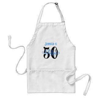 Avental 50 & aniversário fabuloso preto & do azul 2 da