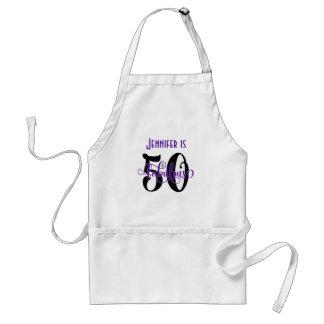 Avental 50 & aniversário fabuloso preto & do roxo 2 da