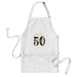 Avental 50 & pretos fabulosos & amarelam o aniversário da