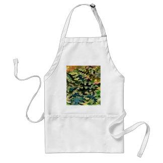 Avental Abstrato da folha no verde, no pêssego e no azul