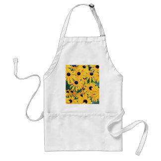 Avental Amarelo das flores de Susan de olhos pretos dentro