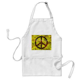 Avental amarelo groovy do símbolo de paz dos anos 70 do