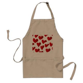 Avental Amor vermelho pintado teste padrão do coração da