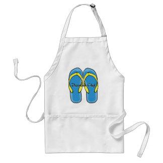 Avental azul dos flip-flops