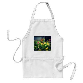Avental Borboleta amarela com foto das flores