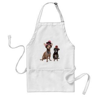 Avental cães da chihuahua em chapéus do inverno com
