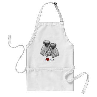 Avental Cães do Pug, eu amo Pugs, arte do lápis, coração