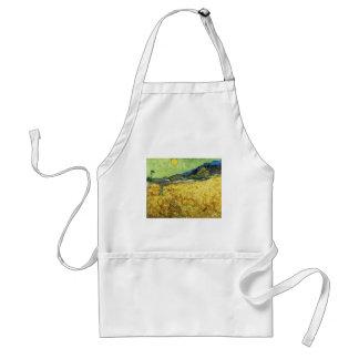Avental Campos de trigo com a ceifeira no nascer do sol -