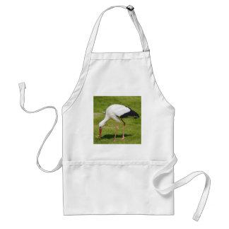 Avental Cegonha branca na grama
