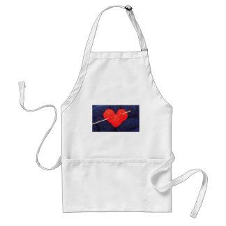 Avental Coração bonito de lãs com a fotografia da agulha