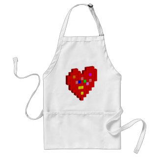 Avental coração de 8 bits
