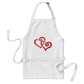 Avental Coração dobro vermelho