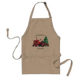 Avental Cozinheiro chefe vermelho da árvore de Natal do