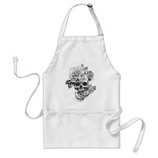 Avental Crânio humano e desenho de tinta preta dos rosas