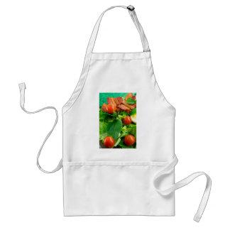 Avental Detalhe de uma placa com tomates de cereja, ervas