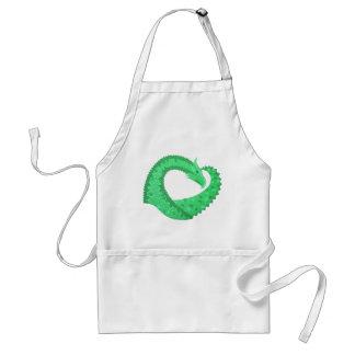 Avental Dragão verde do coração no branco