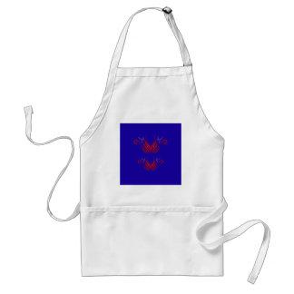 Avental Elementos do design vermelhos no azul