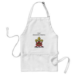 Avental Emblema heráldico vermelho da flor de lis da