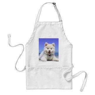 Avental Filhote de cachorro ronco branco com olhos azuis