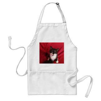 Avental Foofy o gatinho com vermelho de veludo