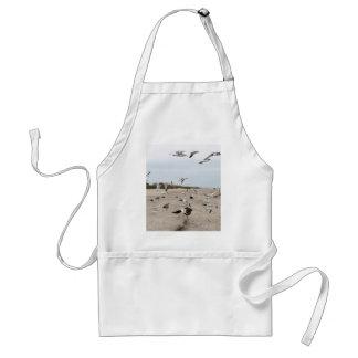 Avental Gaivotas que voam, estando e comendo na praia