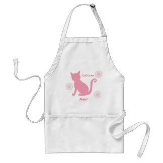 Avental Gato e flores cor-de-rosa
