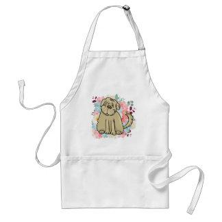 Avental Grande cão macio com flores