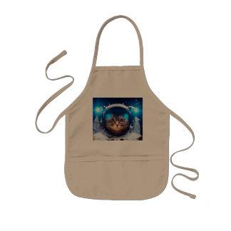 Avental Infantil Astronauta do gato - gatos no espaço - espaço do