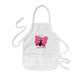 Avental Infantil Borboleta cor-de-rosa pequena bonito personalizada