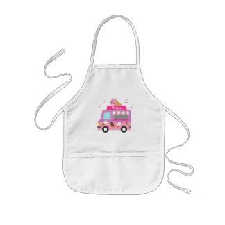 Avental Infantil Caminhão cor-de-rosa roxo doce do sorvete para