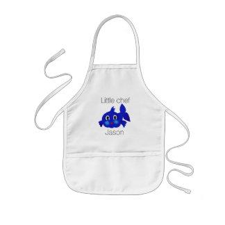 Avental Infantil Desenhos animados azuis engraçados dos peixes