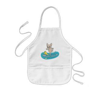 Avental Infantil Frenchie que faz a ioga no conselho de pá de pé