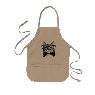 Avental Infantil laço do gato - gato dos vidros - gato de vidro