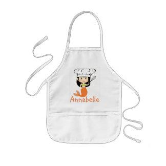 Avental Infantil O cozinheiro chefe alaranjado da sereia