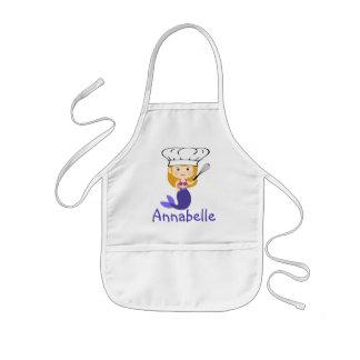 Avental Infantil O cozinheiro chefe roxo da sereia personaliza