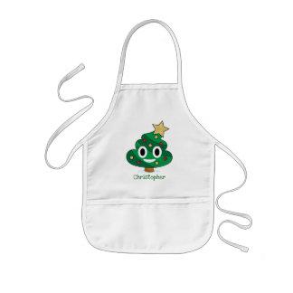 Avental Infantil O tombadilho Emoji da árvore de Natal caçoa o